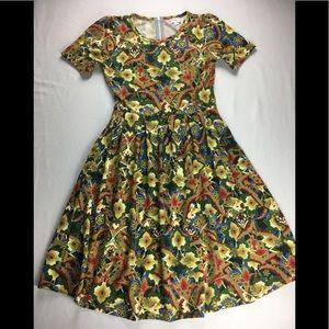 LuLaRoe Amelia Damask Pleated Fit & Flare Dress